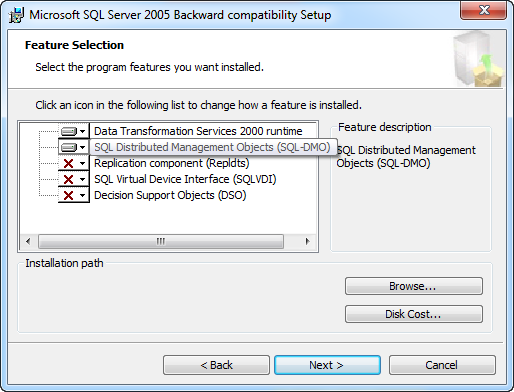 Backward Components Feature Selection