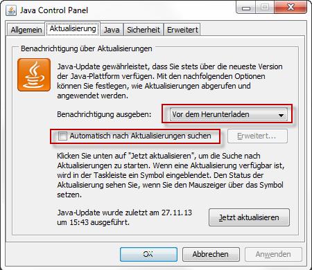 Automatische Aktualisierungen deaktivieren