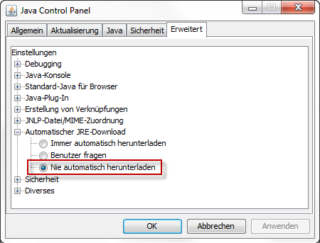 JavaControlPanel2